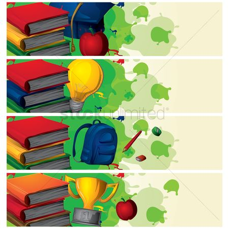 School bag : Set of education banners