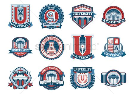 Insignia : Set of education logo design icons