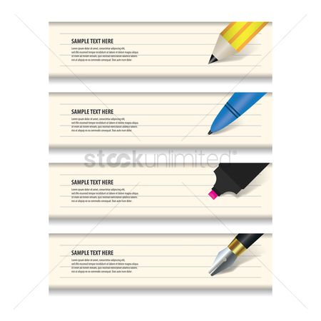 Sketching : Set of educational banners