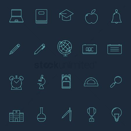 School bag : Set of educational icons