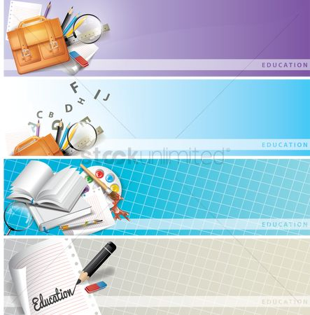 Palette : Set of educational supplies on banners