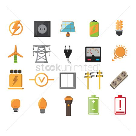 Torch : Set of electric icons