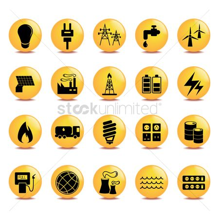 Caution : Set of electric icons