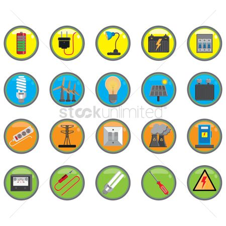 Pollutions : Set of electric icons
