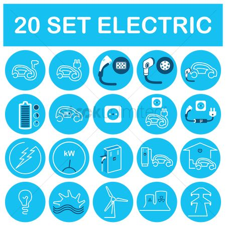 Electric cars : Set of electrical icons