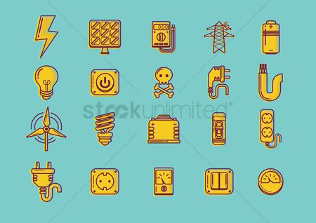 Power button : Set of electrical icons