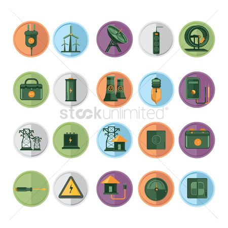 High voltage : Set of electricity related items