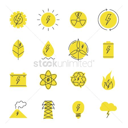 Charging icon : Set of energy generator elements
