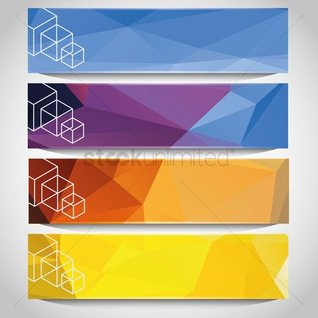 Brochure : Set of faceted banners