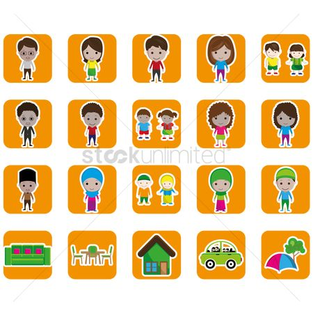 Tables : Set of family and home icons
