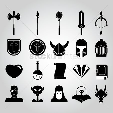 Bull : Set of fantasy icons
