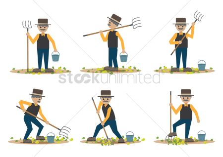 Agriculture : Set of farmers with pitchfork