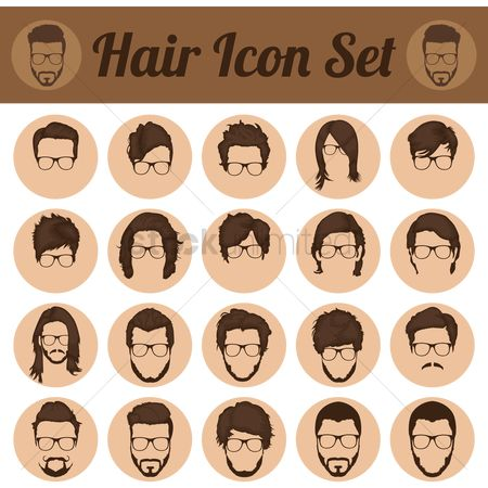 Moustache : Set of fashion hairstyles