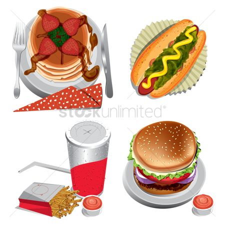 Sausage : Set of fast food icons