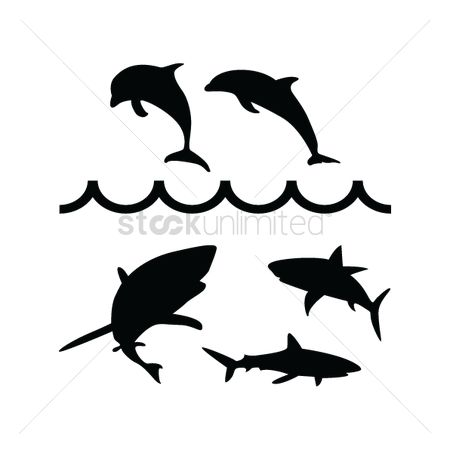 Dolphins : Set of fish silhouettes