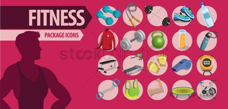 Footwears : Set of fitness icons