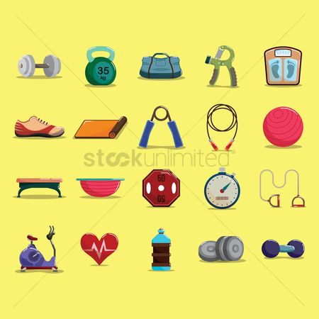 Health cares : Set of fitness icons