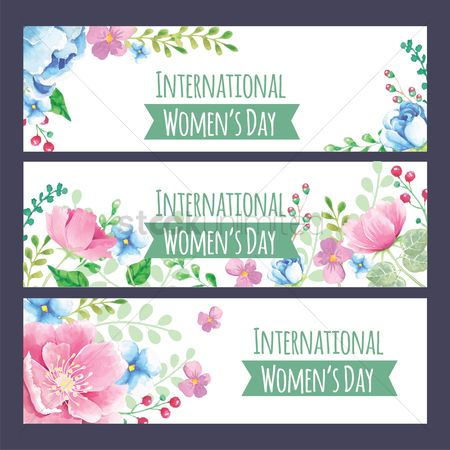 Days : Set of floral international women s day banner