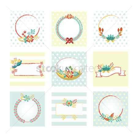 Vectors : Set of floral labels