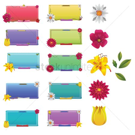 Copy space : Set of flower labels