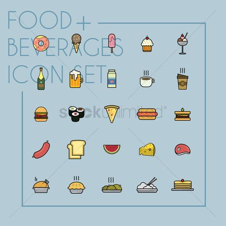 Burgers : Set of food and beverages icons