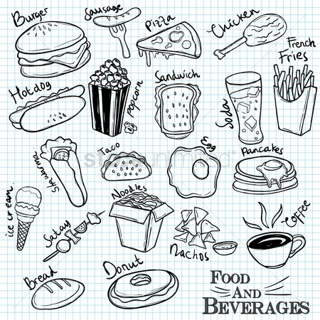 Hotdogs : Set of food and beverages