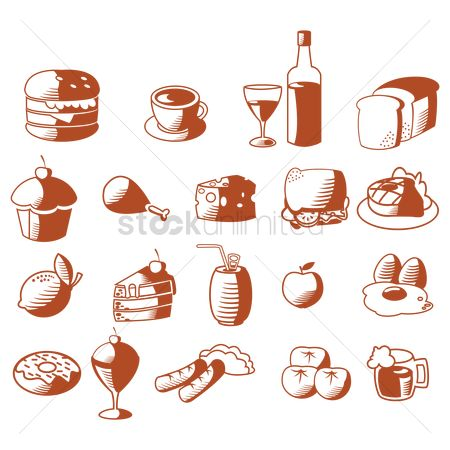 Slices : Set of food icons