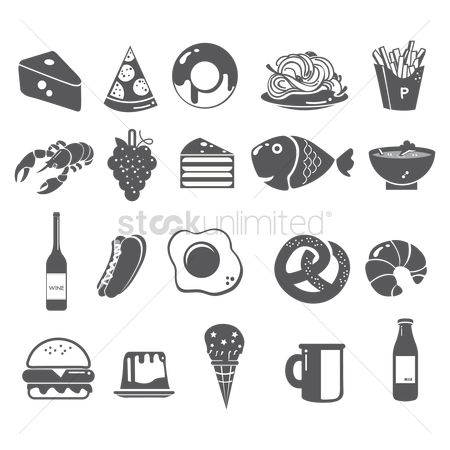 Croissant : Set of food items