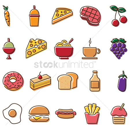 French : Set of food items