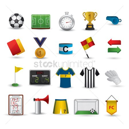 Soccer : Set of football items
