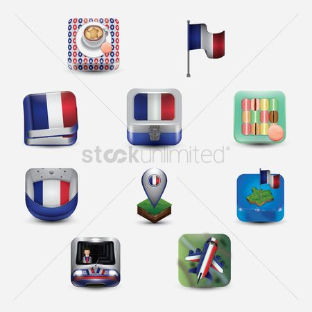 Cookies : Set of france icons