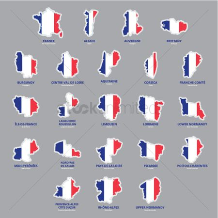 Tricolored : Set of france province maps