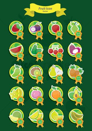 Fresh : Set of fruit icons