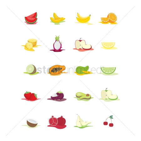 Watermelon slice : Set of fruit icons