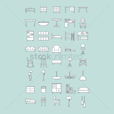 Styles : Set of furniture icons