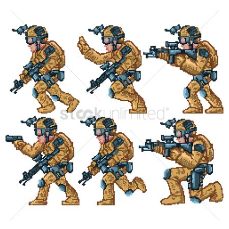 Soldiers : Set of game soldier characters