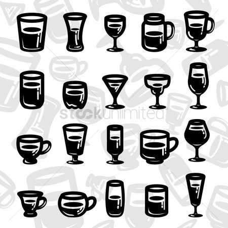 Vessel : Set of glassware icons