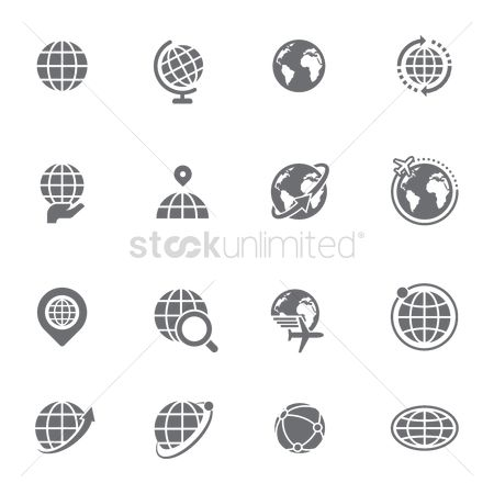 Interact : Set of globe icons