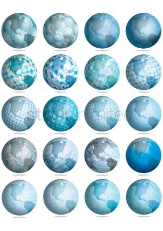 Earth  graphic vector : Set of globes