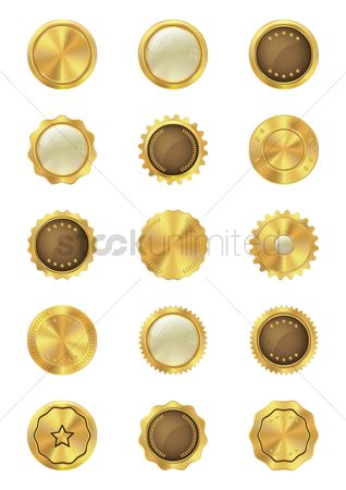 Laurel : Set of gold badge icons