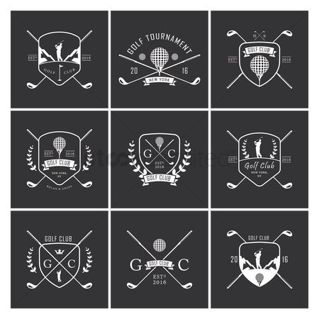 Shield : Set of golf labels