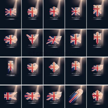 Pentagons : Set of great britain flag icons