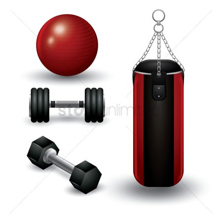 Strength exercise : Set of gym equipment