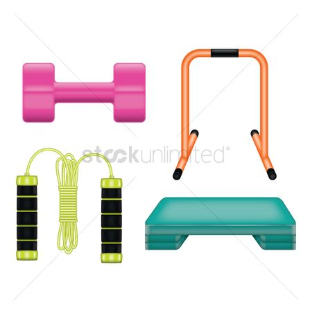 Strength exercise : Set of gym equipments