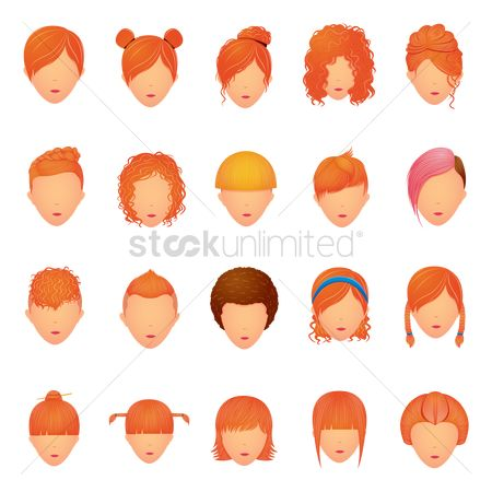 Trendy : Set of hair icons