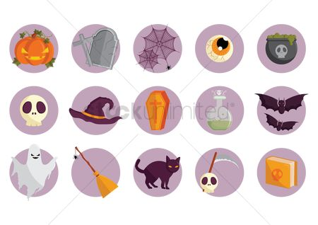 Brooms : Set of halloween icons
