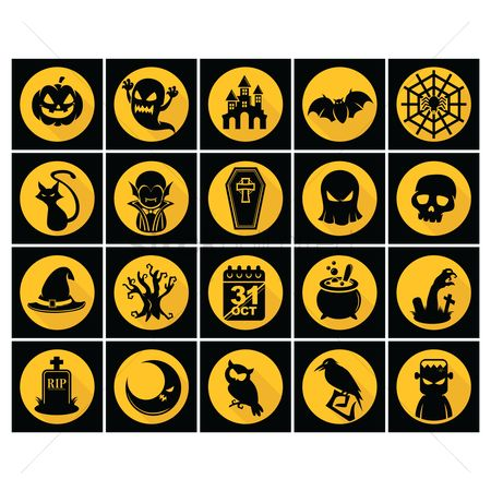 Broom : Set of halloween icons