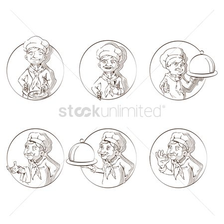 Cook : Set of hand drawn chefs