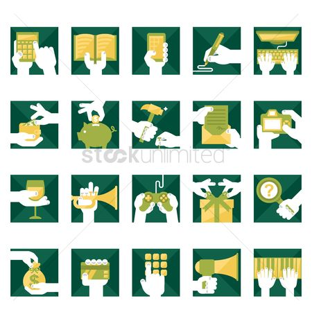 Trumpets : Set of hands icon