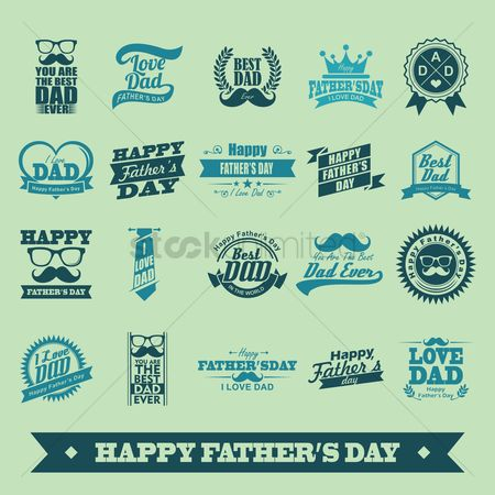 Laurel : Set of happy father s day labels